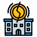 bankrupt, bankruptcy, broke, debt, finance icon