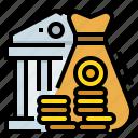 bank, coin, finance, financial, money icon