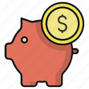 coin, finance, money, pig, piggy bank, saving icon