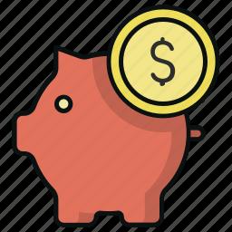 coin, finance, money, pig, piggy bank, saving icon