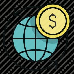 coin, commerce, digital, ecommerce, electronic, money, world icon