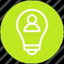 bulb, business, finance, idea, light, person, user