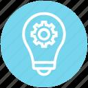bulb, cogwheel, concept, finance, gear, idea, light icon