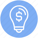 brainstorming, bulb, business, dollar sign, finance, idea, money icon
