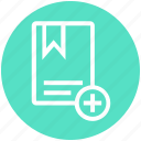 add, book, bookmark, favorite, finance, plus, ribbon