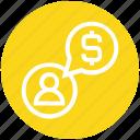 chat, communication, dollar, finance, money, people, user icon