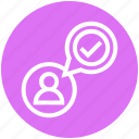 accept, chat, communication, finance, people, tick mark, user icon