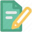 document, note, notepad, pencil, write, writing, writing pad icon