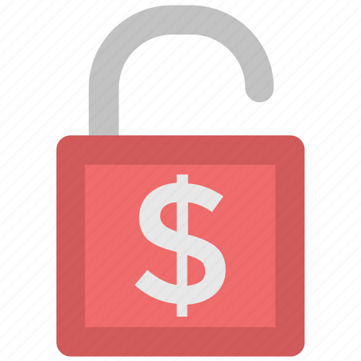 cash safety, lock, money lock, open padlock, privacy, security, unlock icon