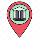 map, location, bank, building, finance icon