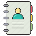 phonebook, directory, contacts, diary, records icon