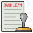 bank, loan, verified, document, stamp icon
