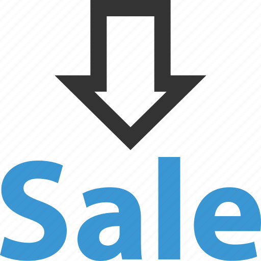 arrow, arrows, down, point, sale, sales, selling icon
