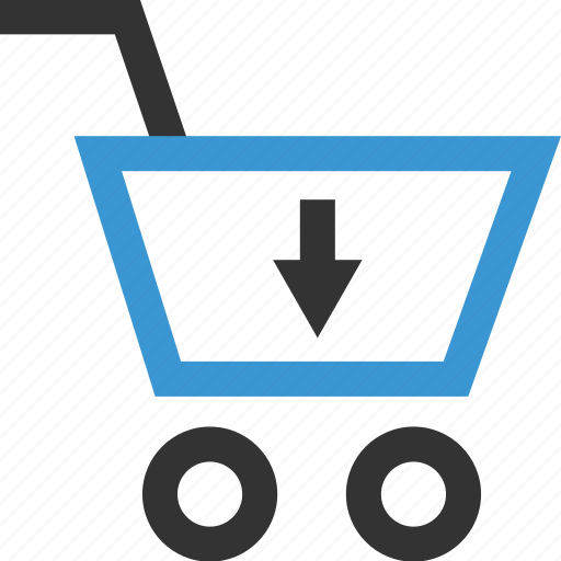 arrow, cart, down, sales, selling, shop, shopping icon