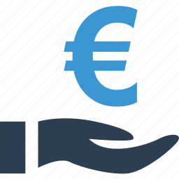 euro, good, growing, hand, money, sign icon