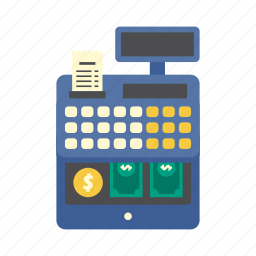bank, cash register, cashier, finance, machine, money, shopping icon