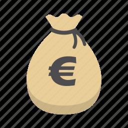 bank, euro, finance, money, money bag, saving, storage icon