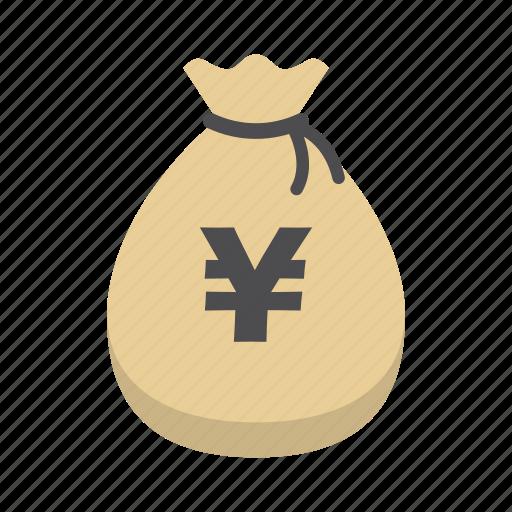bank, finance, money, money bag, saving, storage, yen icon