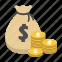 bank, coin, dollar, finance, money, money bag, saving