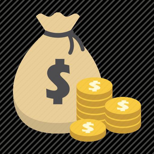 bank, coin, dollar, finance, money, money bag, saving icon