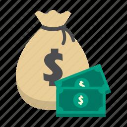 bank, dollar, finance, money, money bag, saving, storage icon