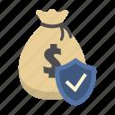 bank, finance, money, money bag, protection shield, saving, shield icon