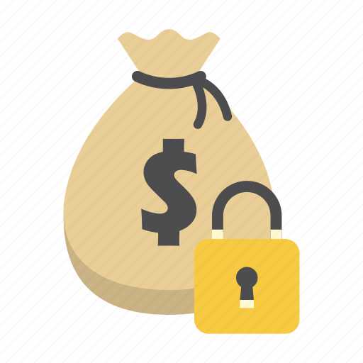 bank, finance, money, money bag, padlock, saving, secure icon