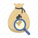 bank, finance, find, magnifying glass, money, money bag, saving icon