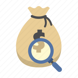 bank, finance, find, magnifying glass, money, money bag, saving icon