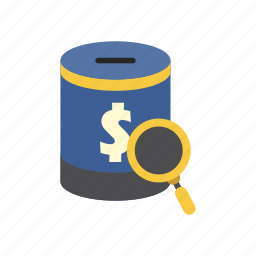 bank, finance, find, magnifying glass, money, money box, saving icon