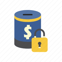 bank, finance, money, money box, padlock, saving, secure icon