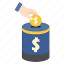bank, finance, hand, money, money box, saving, storage icon