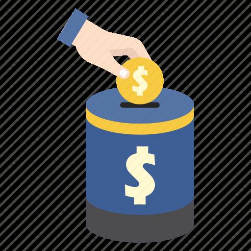 bank, finance, hand, money, money box, saving, storage icon