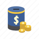 bank, dollar, finance, money, money box, saving, storage icon
