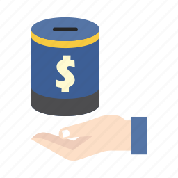bank, finance, hand, insurance, money, money box, saving icon