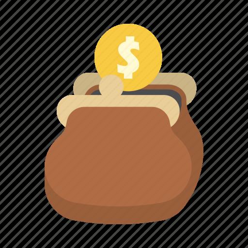 coin, dollar, finance, money, purse, saving, storage icon