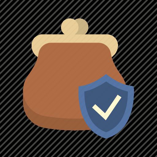 finance, money, protection shield, purse, secure, shield, storage icon