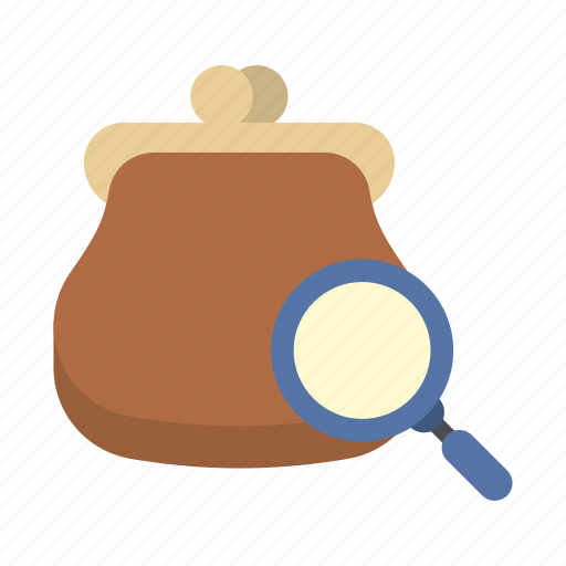 bank, finance, find, magnifying glass, money, purse, saving icon