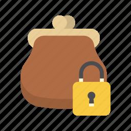 finance, money, padlock, purse, saving, secure, storage icon