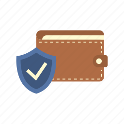 finance, money, protection shield, saving, secure, shield, wallet icon