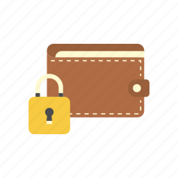 bank, finance, money, padlock, secure, storage, wallet icon