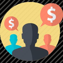 affiliate, business, earning, finance, flat design, marketing, money icon