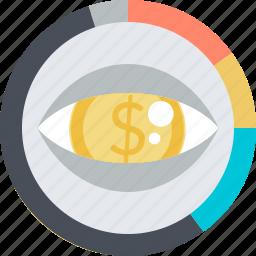 analytics, control, finance, flat design, money, round icon