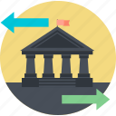 bank, banking, finance, flat design, money, transfer, wire icon