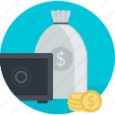 banking, finance, flat design, investment, money, round, safe icon