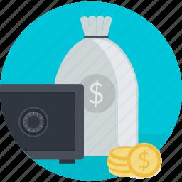 banking, finance, flat design, investment, money, round, safe icon