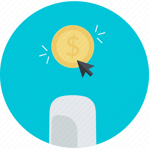 business, earning, flat design, internet, money, online, pay per click icon
