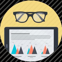 analysis, business, flat design, plan, report, round, statistics icon