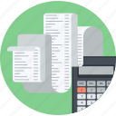 accounting, bookkeeping, business, calculation, finance, flat design, taxes icon