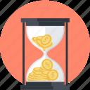 banking, deadline, finance, hourglass, money, time icon